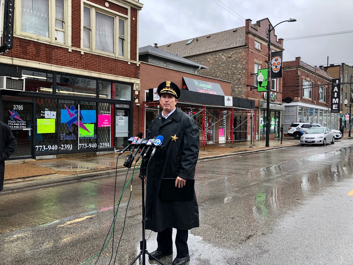 CPD Chief of Operations Brian McDermott speaks to reporters after police officers shot and armed suspect Oct. 23, 2020, in the Little Village neighborhood.