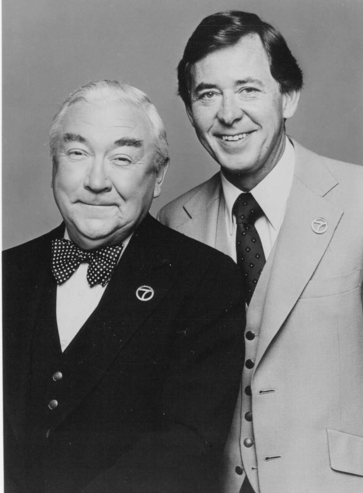 """On Feb. 12, 1968, the """"Eyewitness News"""" team concept was born when longtime Chicago news anchor Fahey Flynn (left) joined Joel Daly at WLS-TV, ushering in a new brand of television journalism derided by some as """"happy talk."""""""